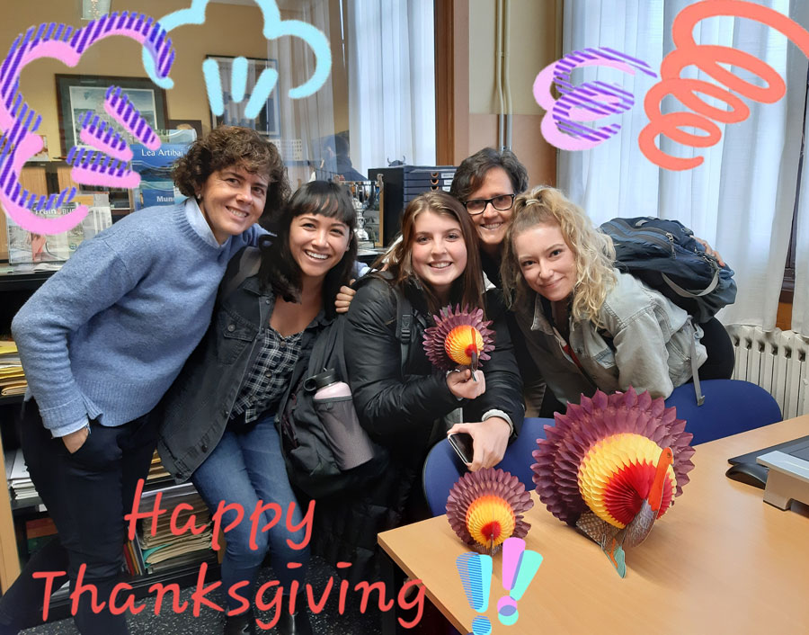 USAC students in Bilbao, Spain make thanksgiving decorations with staff