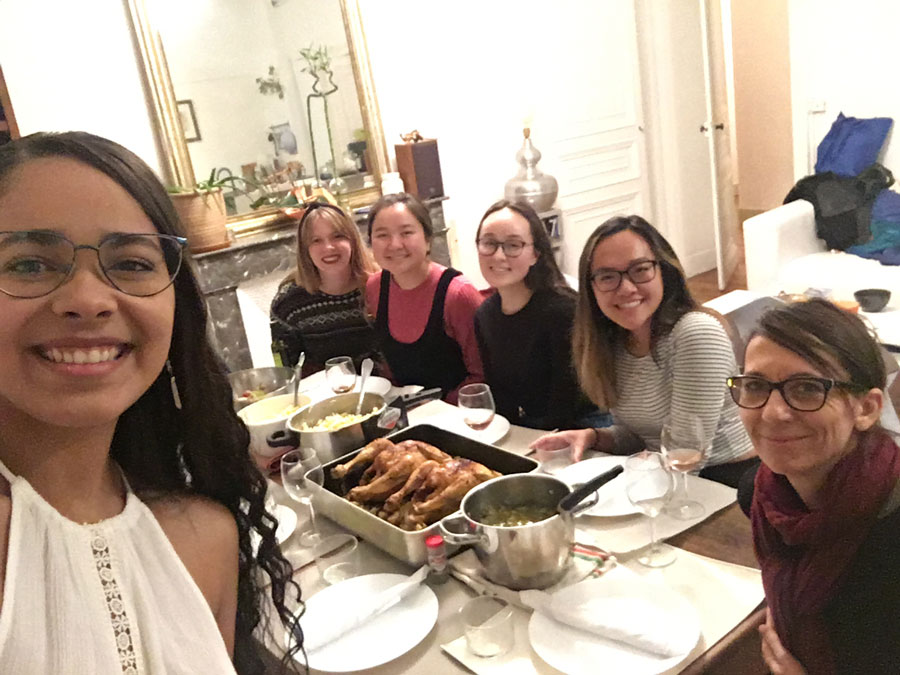 Study abroad student in Pau, France celebrates Thanksgiving with her friends and host family