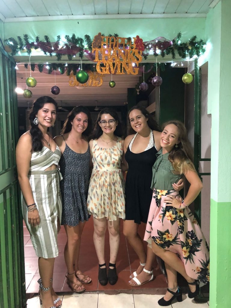 USAC students in Puntarenas, Costa Rica celebrate Thanksgiving during a study abroad