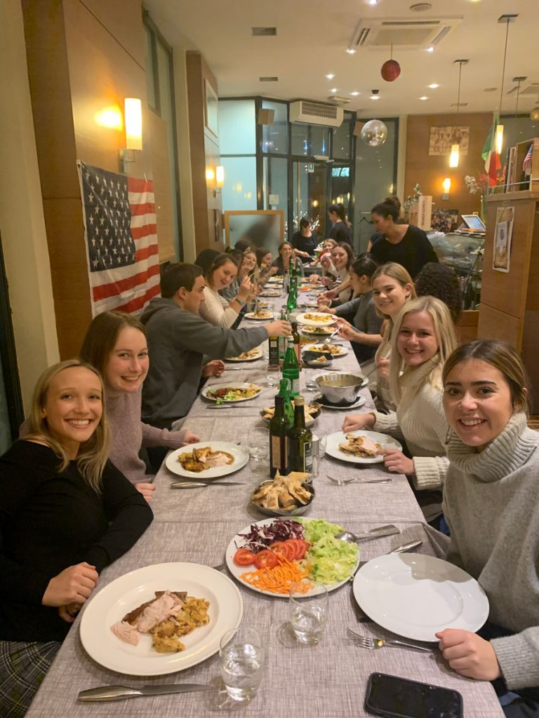 USAC students in Reggio Emilia, Italy celebrate thanksgiving during a study abroad