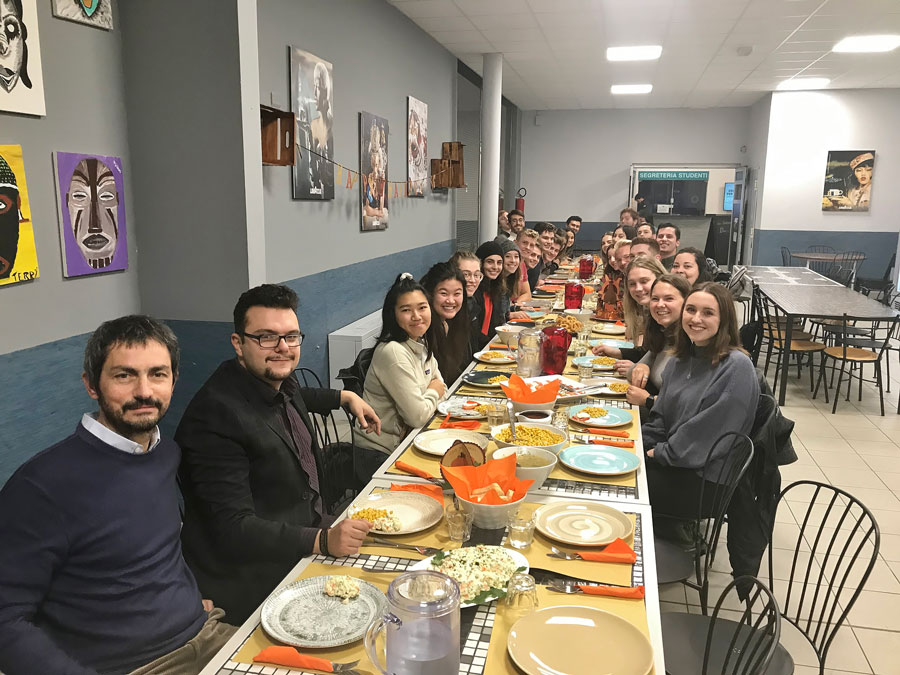 USAC students in Torino, Italy celebrate Thanksgiving as a group with a traditional Thanksgiving meal