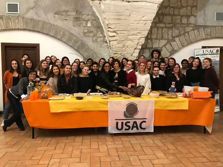 Students gather for a Thanksgiving celebration in Viterbo, Italy during study abroad