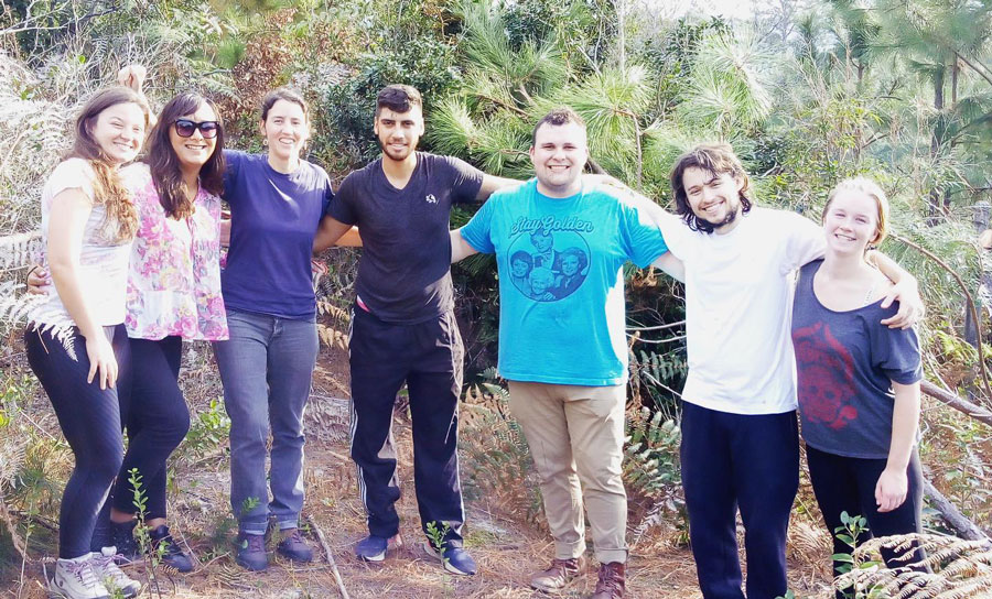 Students work with the Institute of Development and Envrionment Conservation to remove invasive species in Brazil