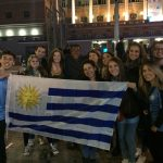 A group of students attends a local soccer game in Uruguay during a study abroad in Montevideo