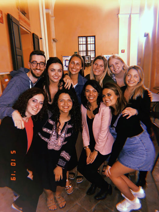 A group of students during a travel abroad program in Reggio Emilia, Italy with USAC