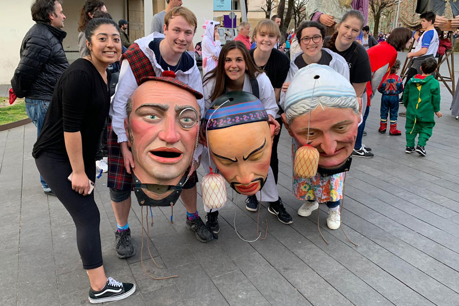 Students during Basque Carnaval in San Sebastian, Spain