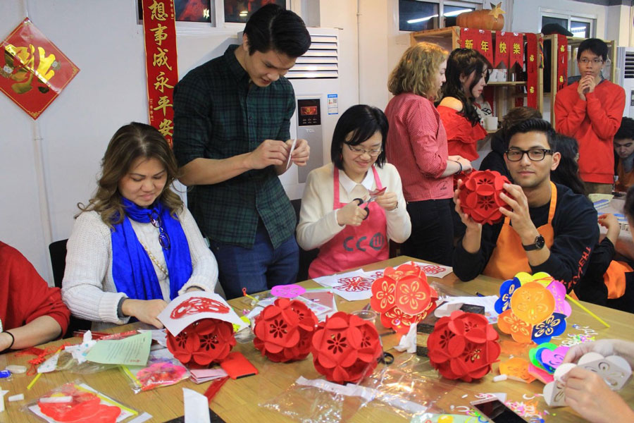 Students create lantern decorations to celebrate Lunar New Year during study abroad in China