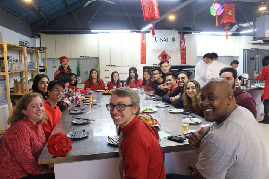 Study abroad students dress in red to celebrate Lunar New Year during study abroad in China