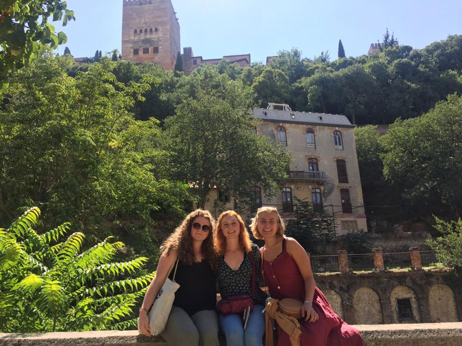 A college student and friends in Valencia, Spain during a study abroad