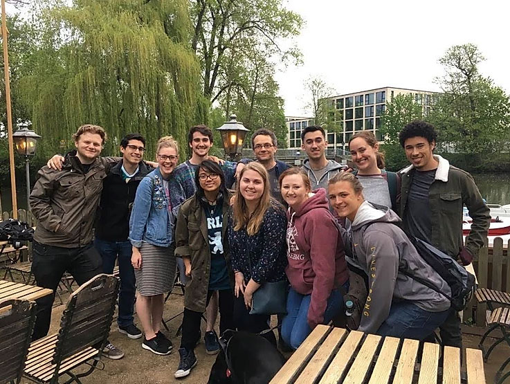 A group of USAC students who are partaking in German Language class during a study abroad in Luneburg, Germany