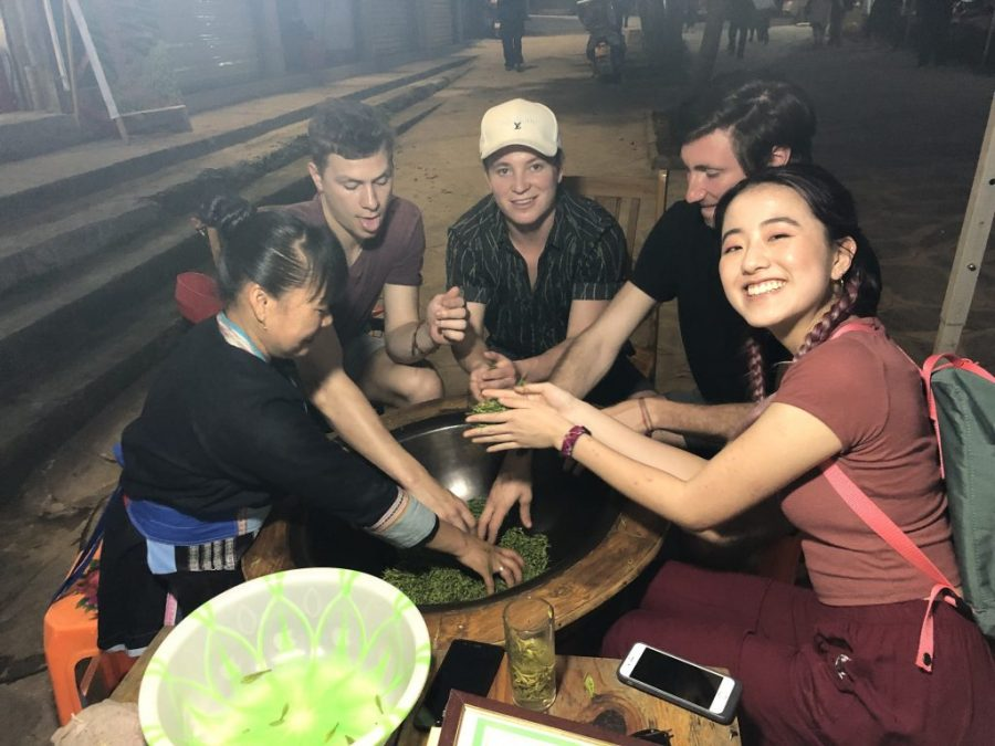 Students learn how to make tea during a summer study abroad field trip in Chengdu, China
