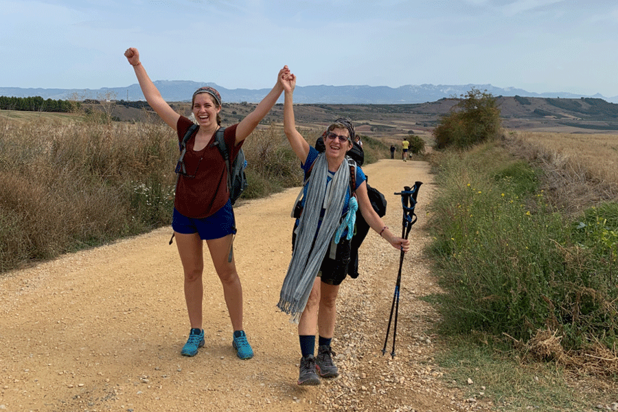 Students walking the camino de santiago trail during a study abroad in San Sebastian, Spain