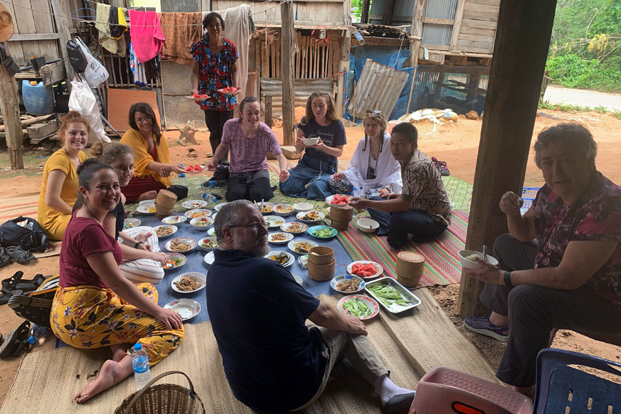 USAC students eating with locals in Khon Kaen, Thailand a lesser known study abroad program