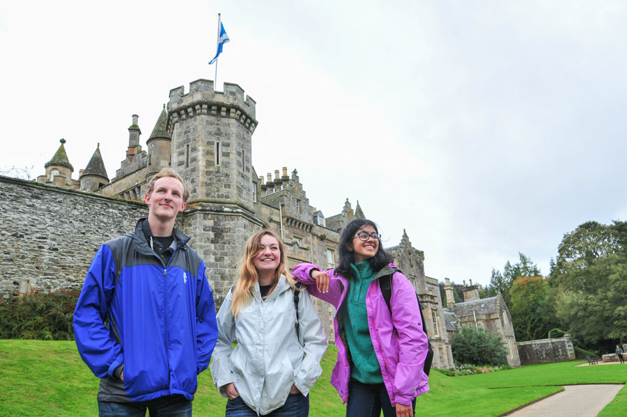 Students on study abroad field trip during study abroad in St. Andrews Scotland