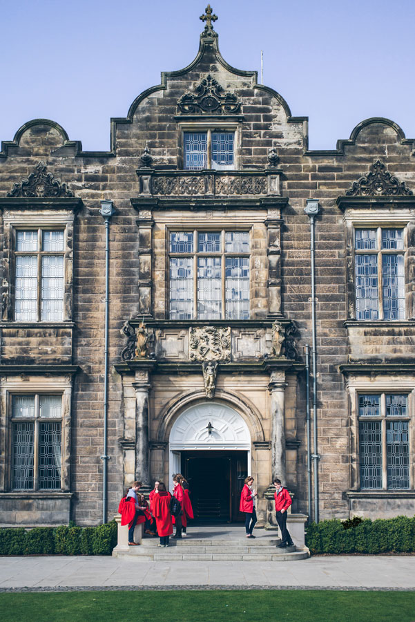 Students at University of St. Andrews during study abroad in Scotland with USAC