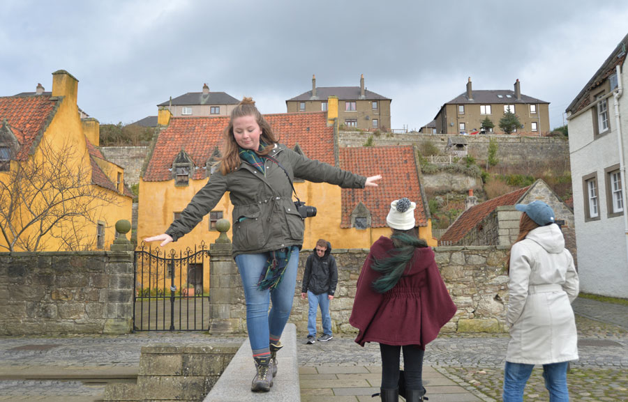 A student explores Stirling, Scotland during a study abroad