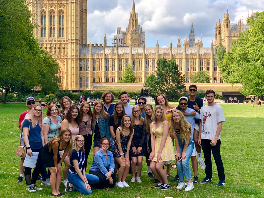 A group of students in London studying abroad