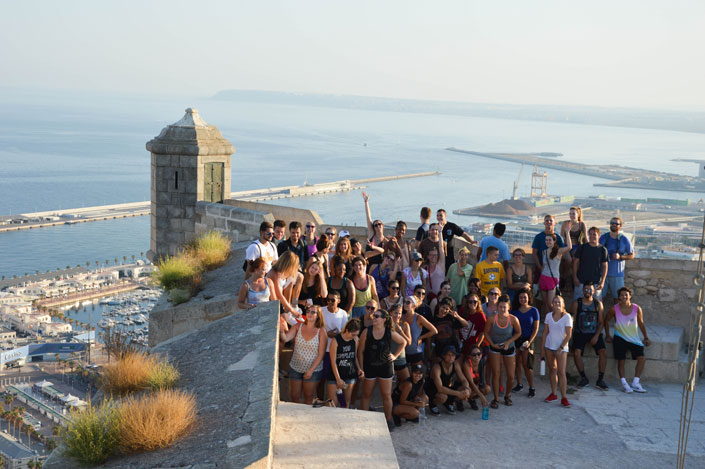 students gather in Alicante, Spain to get a few of the city