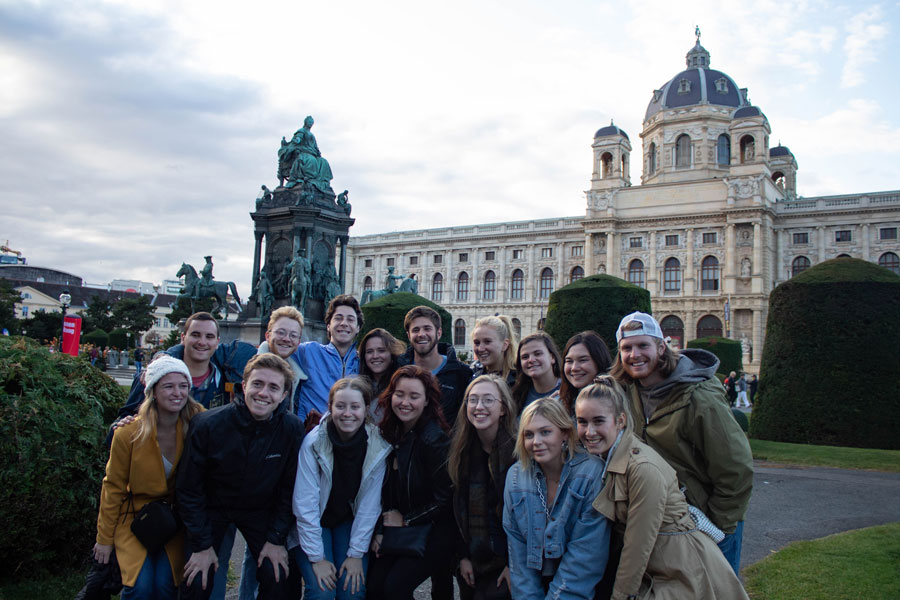Study abroad students on a study abroad field trip to Vienna