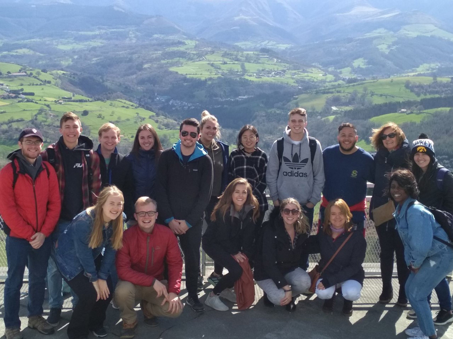 A group of students studying abroad take a field trip for their Basque Culture and Language class