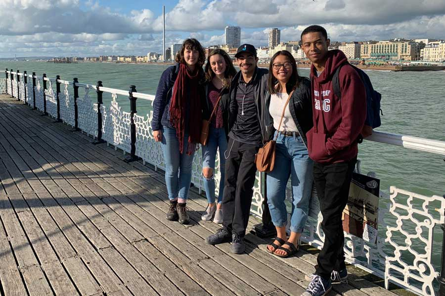 Students gather in Reading England during a study abroad