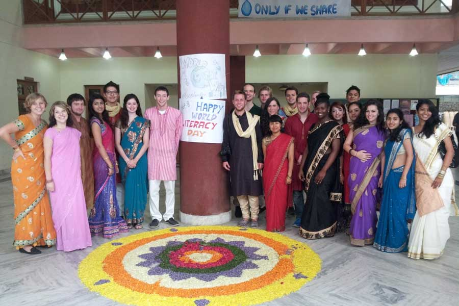 Students studying abroad in India