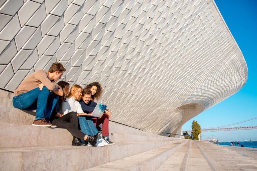 A group of students study in Lisbon