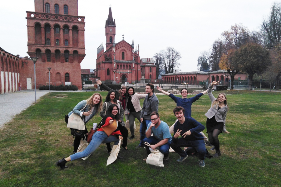 Students pose on a field trip in Torino, Italy.